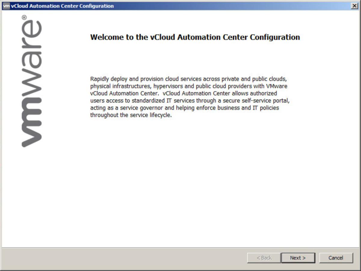 vCAC Installation Splash Screen