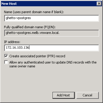 vPostgres DNS settings