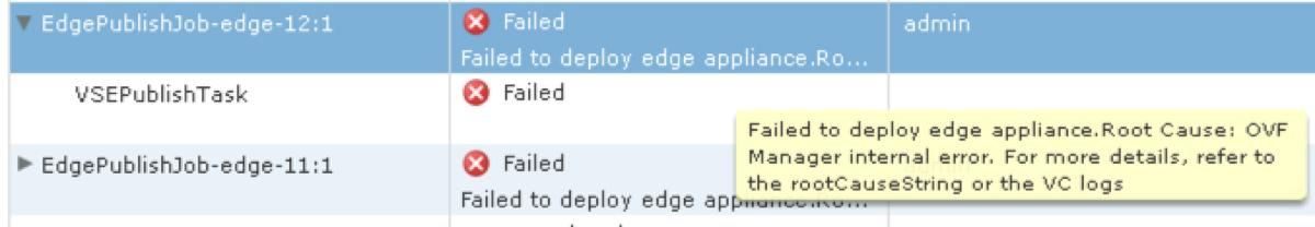 vShield Edge Error