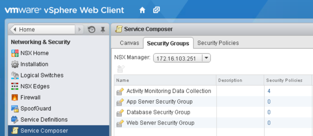 NSX Security Groups
