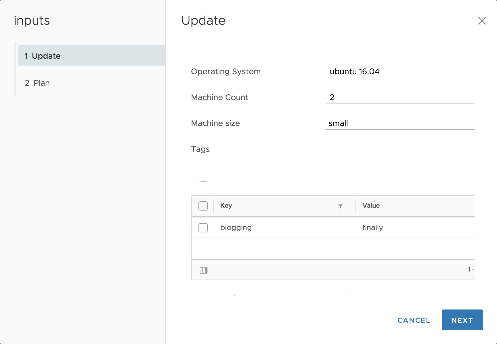Update Cloud Assembly Deployment Using Inputs